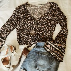 Button & Tie-Front Cropped Blouse